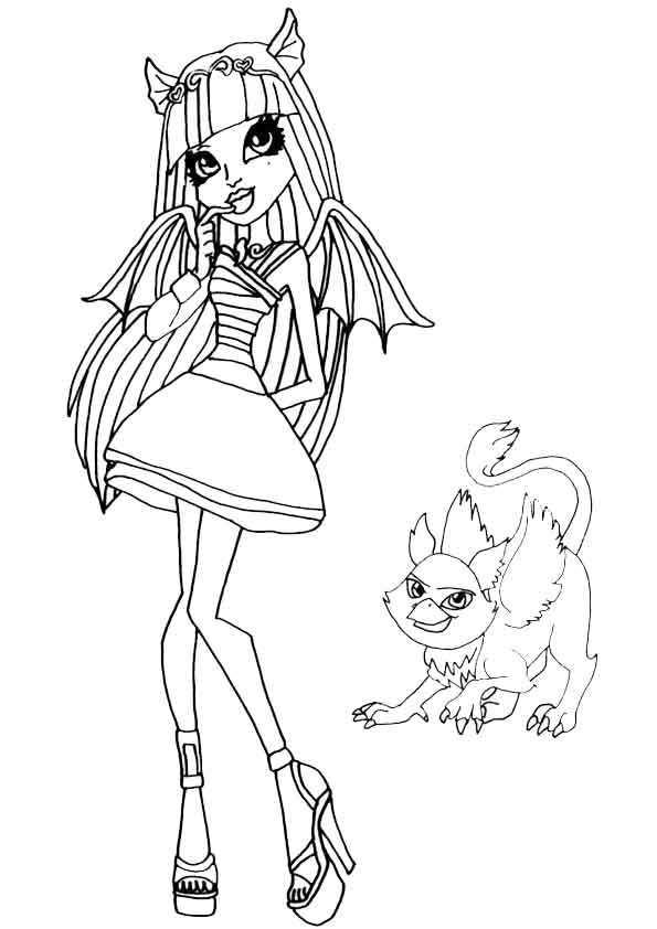ausmalbilder Rochelle-Goyle-und-Maskottchen von monster high