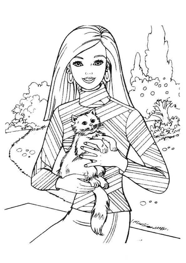 ausmalbilder Barbie mit ihrer Katze