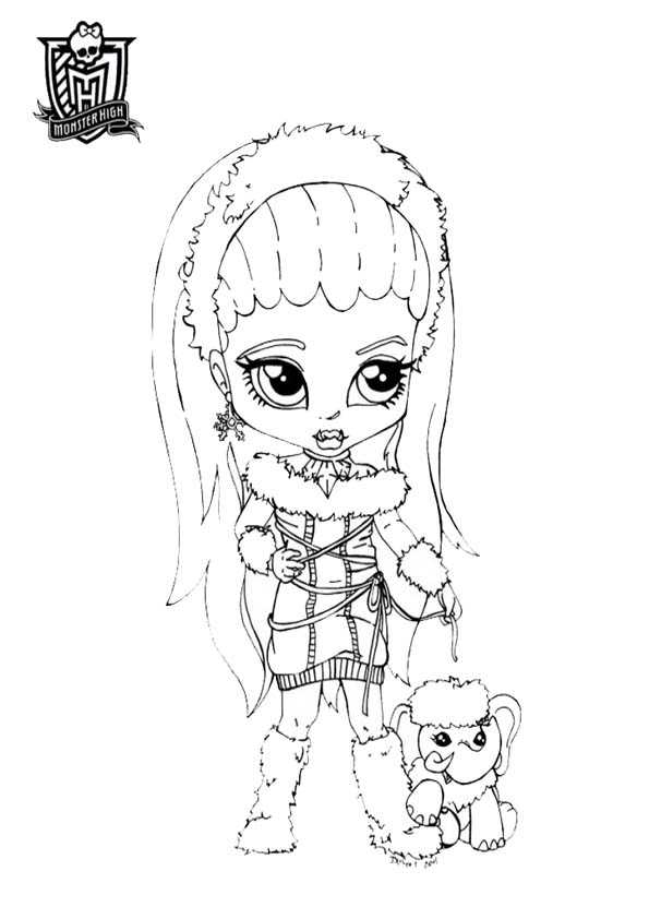 Ausmalbilder Monster High baby Abbey Bominable