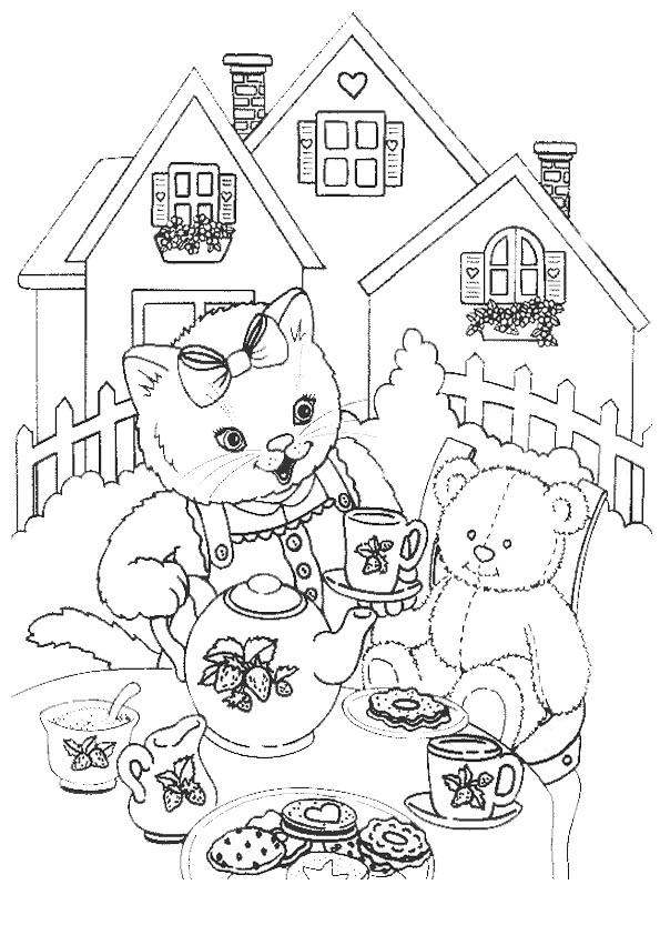 Ausmalbilder- Malvorlagen- Katzen 32