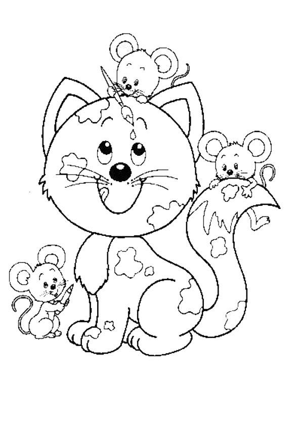 Ausmalbilder- Malvorlagen-Katzen-42